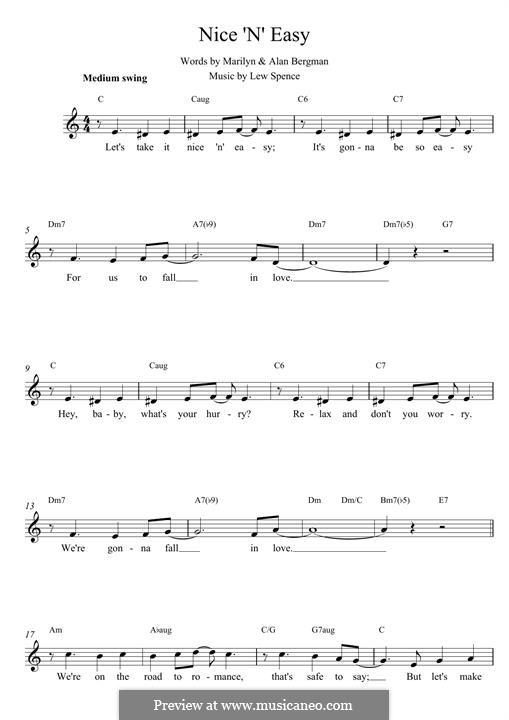 Nice 'n' Easy (Frank Sinatra): Мелодия by Alan Bergman, Lew Spence, Marilyn Bergman