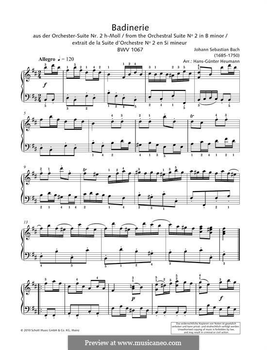 Сюита для оркестра No.2 си минор, BWV 1067: Badinerie. Version for piano by Иоганн Себастьян Бах