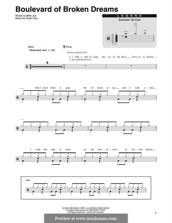 Boulevard of Broken Dreams (Green Day): Drum set by Billie Joe Armstrong, Tré Cool, Michael Pritchard