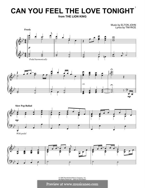 Can You Feel the Love Tonight (from The Lion King), for Piano: Для одного исполнителя by Elton John
