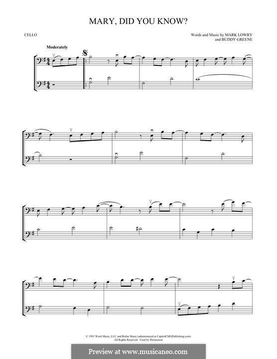 Mary Did You Know?: Для двух виолончелей by Bud Green