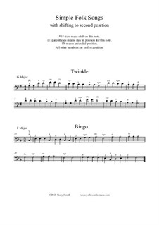 Four familiar folk songs for learning second and third position: Four familiar folk songs for learning second and third position by folklore