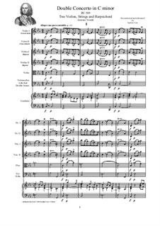 Concerto for Two Violins and Strings in C Minor, RV 509: Score, parts by Антонио Вивальди