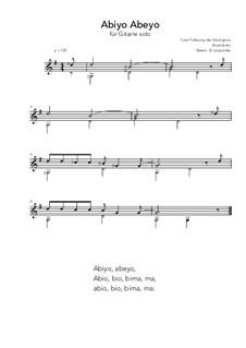Abiyo Abeyo: For guitar solo (G Major) by folklore