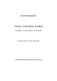 Violin Concerto Kairos for violin and orchestra: I Kairos – score by Hans Bakker