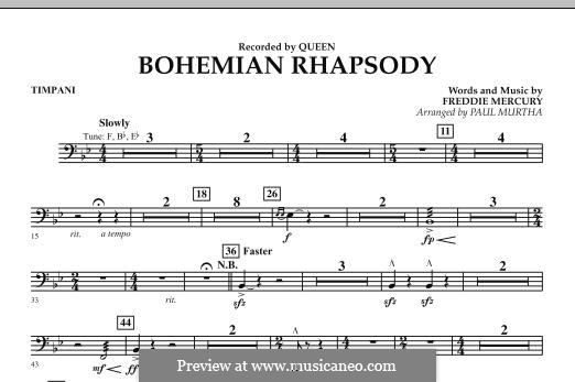 Bohemian Rhapsody (Arrangement by Paul Murtha): Timpani by Freddie Mercury