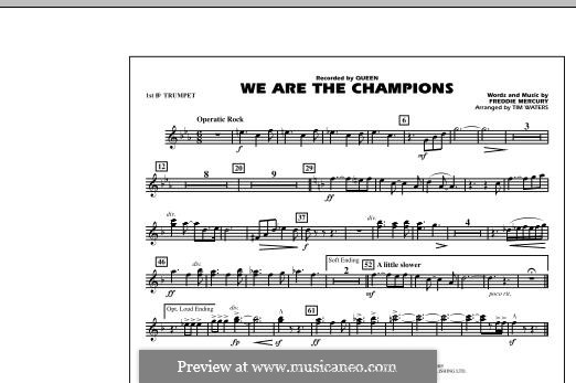 We are the Champions (Queen): 1st Bb Trumpet part (by Tim Waters) by Freddie Mercury