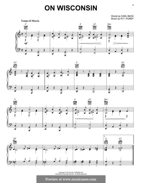 On, Wisconsin: Для голоса и фортепиано (или гитары) by William Thomas Purdy