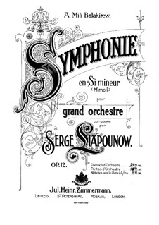 Симфония си минор, Op.12: Партитура by Сергей Ляпунов