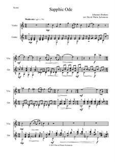 Пять песен, Op.94: No.4 Sapphic Ode, for violin and guitar by Иоганнес Брамс