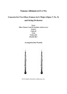 Concerto No.5 in C Major: Version for two oboe d'amore (G Major) – score, parts by Томазо Альбинони