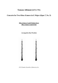 Concerto No.5 in C Major: Version for two oboe d'amore (G Major) – solo by Томазо Альбинони