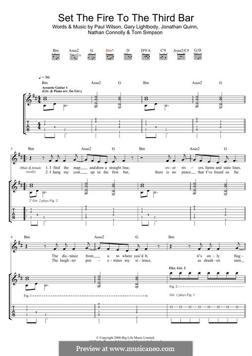 Set the Fire to the Third Bar (Snow Patrol): Гитарная табулатура by Gary Lightbody, Jonathan Quinn, Nathan Connolly, Paul Wilson, Tom Simpson