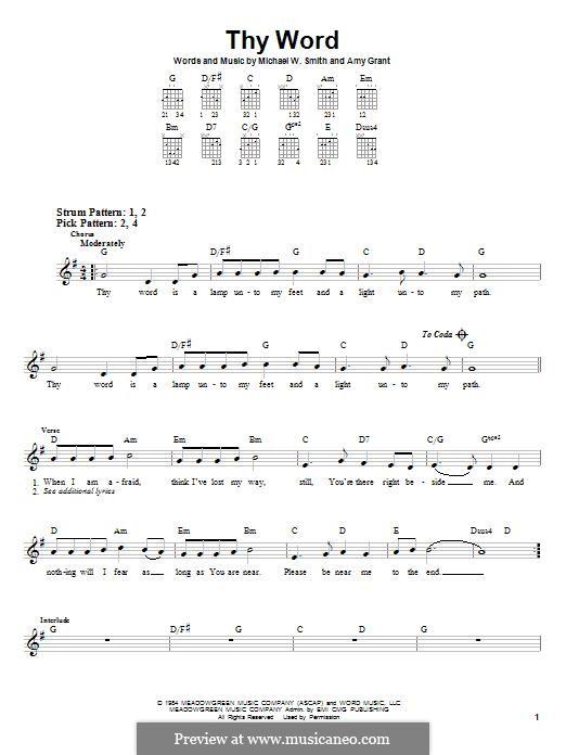 Thy Word: Гитарная табулатура by Amy Grant, Michael W. Smith