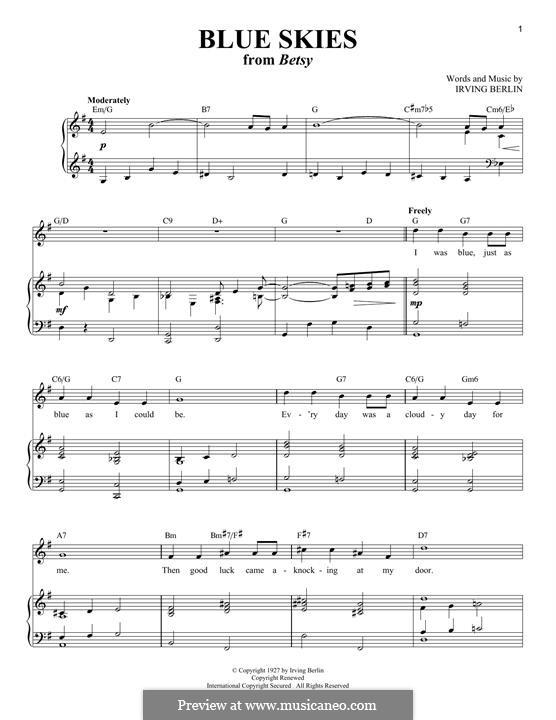 Blue Skies: Для голоса и фортепиано by Ирвинг Берлин