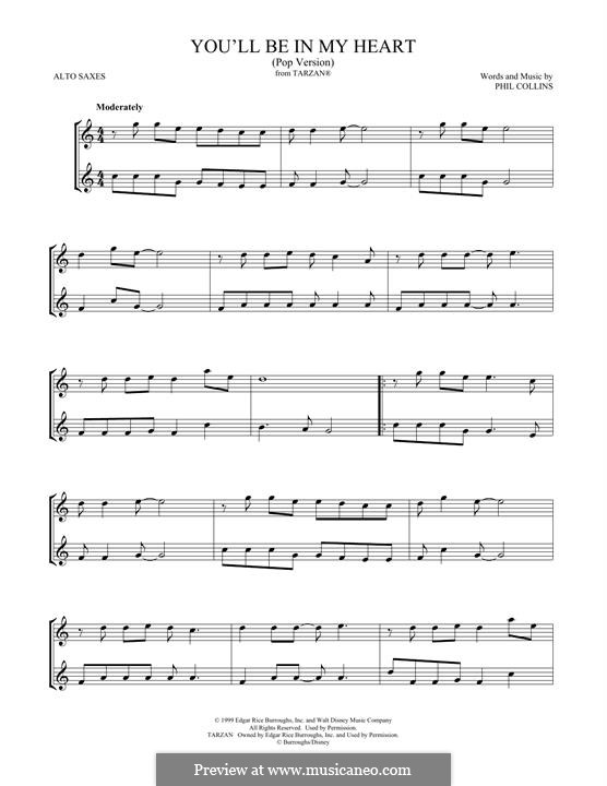 You'll Be in My Heart (from Walt Disney's Tarzan): For two alto saxophones by Phil Collins