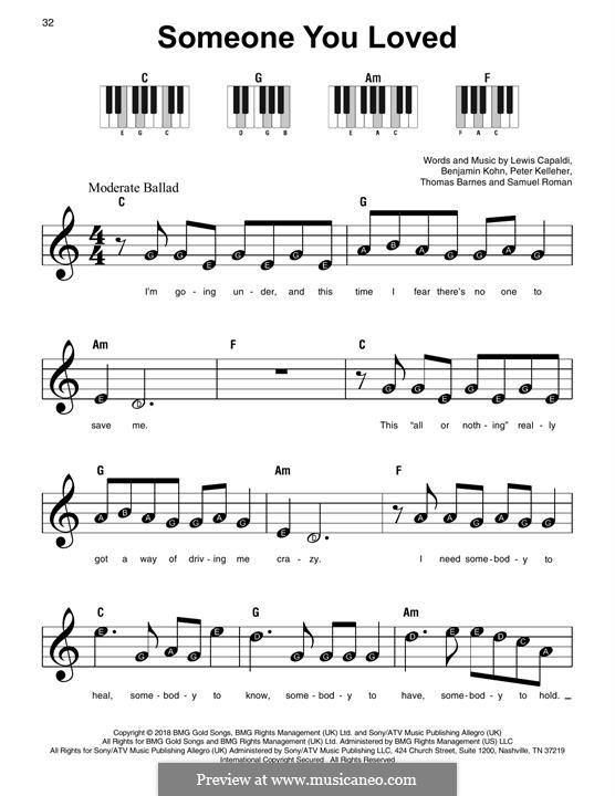 Someone You Loved: Для фортепиано by Benjamin Kohn, Peter Kelleher, Thomas Barnes, Samuel Roman, Lewis Capaldi