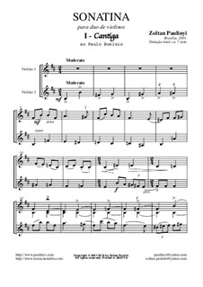 Sonatina: For 2 violins (full score and parts) revised edition for A4 size by Zoltan Paulinyi