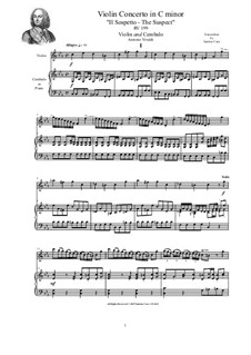 Concerto in C minor 'The Suspect' for Violin, Strings and Cembalo, RV 199: Version for violin and cembalo (or piano) by Антонио Вивальди