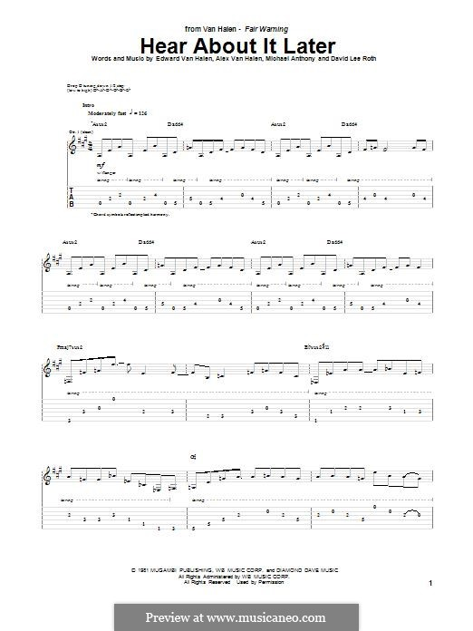 Hear About It Later (Van Halen): Гитарная табулатура by Alex Van Halen, David Lee Roth, Edward Van Halen, Michael Anthony