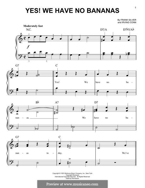 Yes! We Have No Bananas: Для фортепиано by Irving Cohn