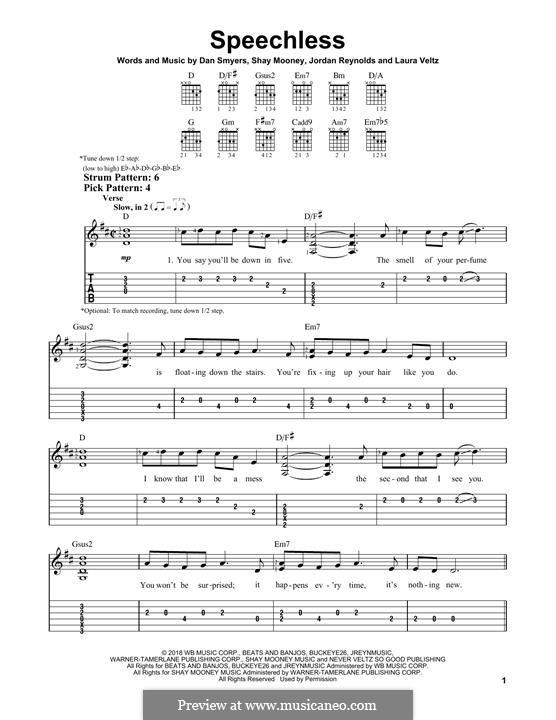 Speechless (Dan + Shay): Гитарная табулатура by Shay Mooney, Dan Smyers, Laura Veltz, Jordan Reynolds