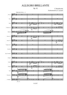 Блестящее аллегро ля мажор, Op.92: For symphonic orchestra by Феликс Мендельсон-Бартольди