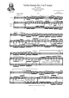 Six Sonatas for Violin Solo, Two Violins and Cembalo (or Piano), Op.5: Sonata No.1 in F major, RV 18 by Антонио Вивальди