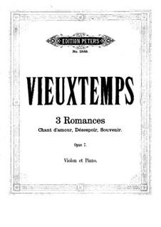 Три романса для скрипки и фортепиано, Op.7: Сольная партия by Анри Вьетан
