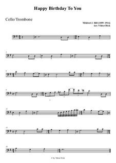 С днем рождения тебя: For cello playAlong by Милдред  Хилл
