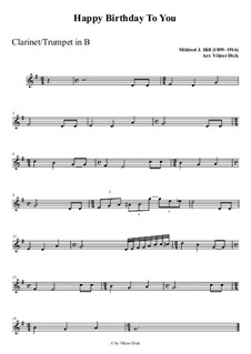 С днем рождения тебя: For clarinet playAlong by Милдред  Хилл