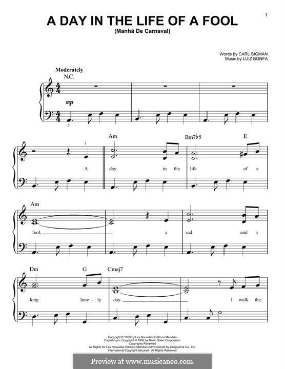 A Day in the Life of a Fool (Manha de Carnaval): Для фортепиано by Luiz Bonfa