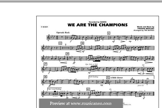 We are the Champions (Queen): F Horn part (by Tim Waters) by Freddie Mercury