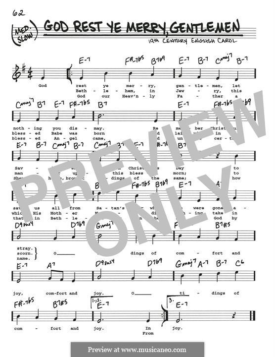 God Rest You Merry, Gentlemen (Printable Scores): Мелодия by folklore