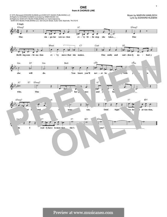 One (from A Chorus Line): Мелодия by Marvin Hamlisch