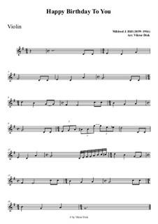 С днем рождения тебя: For violin playAlong by Милдред  Хилл