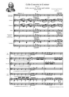 Concerto for Cello and Strings in G Minor, RV 417: Score, parts by Антонио Вивальди