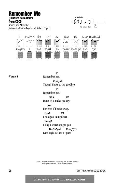 Remember Me from 'Coco' (Ernesto de la Cruz): Текст, аккорды by Robert Lopez, Kristen Anderson-Lopez
