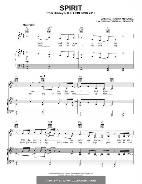 Spirit (from The Lion King 2019): Для голоса и фортепиано (или гитары) by Beyoncé, Timothy McKenzie, Ilya