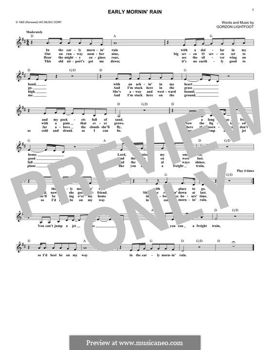 Early Morning Rain (Eva Cassidy): Мелодия by Gordon Lightfoot