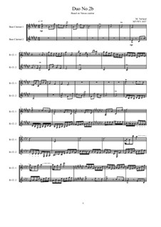 Duos for 2 Bass clarinet, Volume 1: Duo No.2, MVWV 1037 by Maurice Verheul