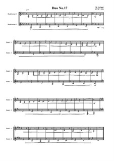 Duos for 2 Bass clarinet, Volume 1: Duo No.17, MVWV 954 by Maurice Verheul