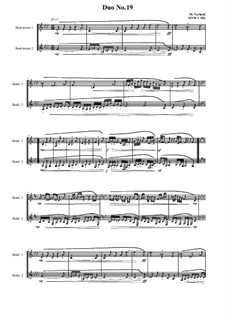 Duos for 2 Bass clarinet, Volume 1: Duo No.19, MVWV 956 by Maurice Verheul