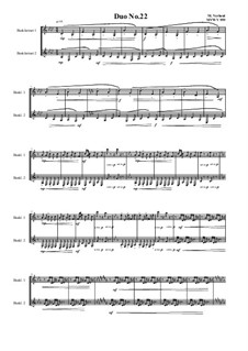 Duos for 2 Bass clarinet, Volume 1: Duo No.22, MVWV 959 by Maurice Verheul