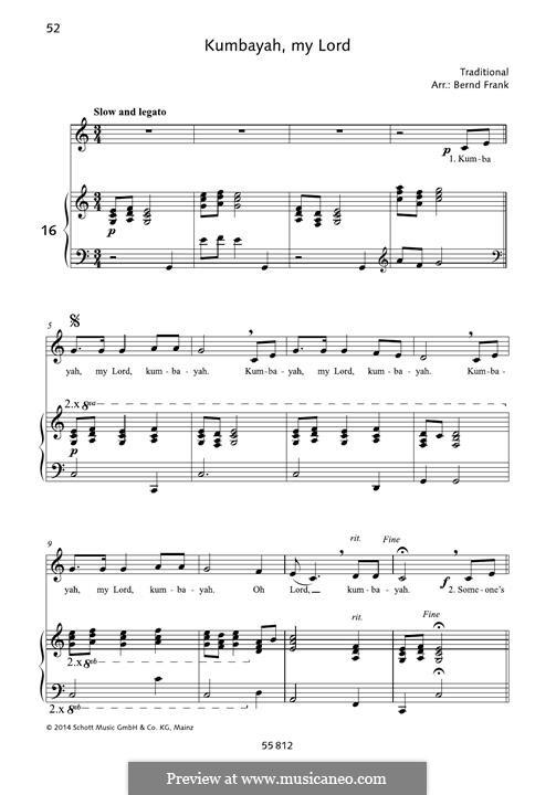 Kumbaya (Kum Ba Yah): Для голоса и фортепиано by folklore