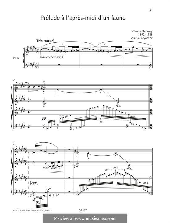 Послеполуденный отдых фавна, L.86: Для фортепиано by Клод Дебюсси