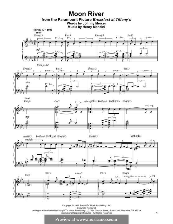 Moon River, for Piano: Для одного исполнителя by Henry Mancini