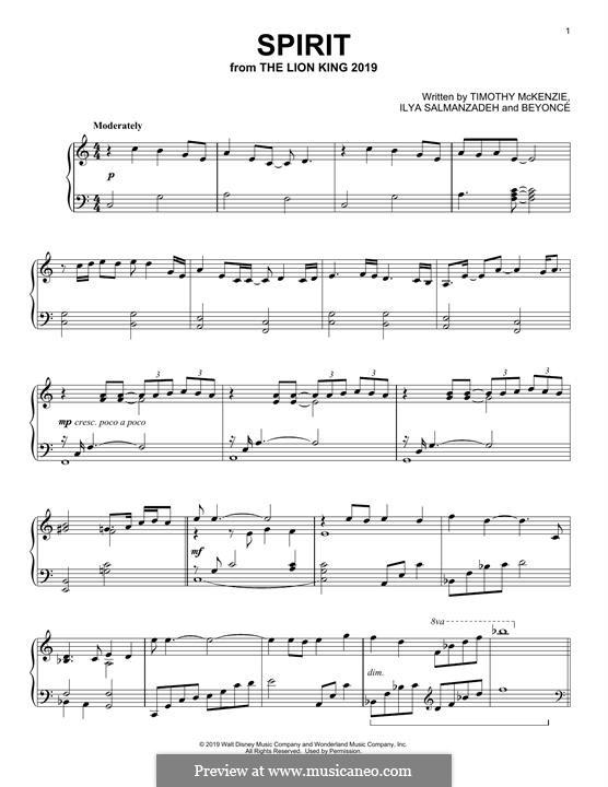 Spirit (from The Lion King 2019): Для фортепиано by Beyoncé, Timothy McKenzie, Ilya