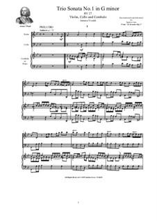 Trio Sonata No.1 in G minor for Violin, Cello and Cembalo (or Piano), RV 27 Op.2: Trio Sonata No.1 in G minor for Violin, Cello and Cembalo (or Piano) by Антонио Вивальди