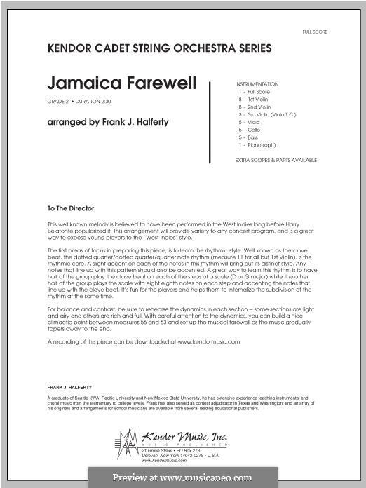 Jamaica Farewell: Партитура by folklore